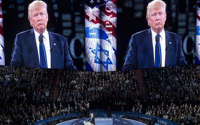 Donald Trump hablando en la Conferencia de Política del 2016 del American Public Public Committee (AIPAC) en el Verizon Center en Washington, DC, el 21 de marzo de 2016. (Saul Loeb / AFP / Getty Images vía JTA)