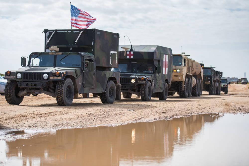Un convoy de vehículos estadounidenses e israelíes mueve suministros antes del ejercicio de defensa aérea Juniper Cobra 2018 en marzo de 2018. (Fuerzas de Defensa de Israel)