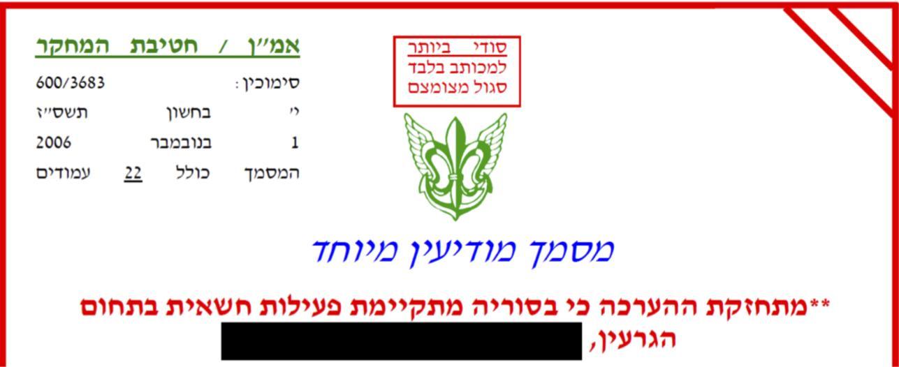 Una parte de un informe de inteligencia del 1 de noviembre de 2006, en el que el ejército dice que cree cada vez más que Siria está construyendo un reactor nuclear.(Fuerzas de Defensa de Israel)