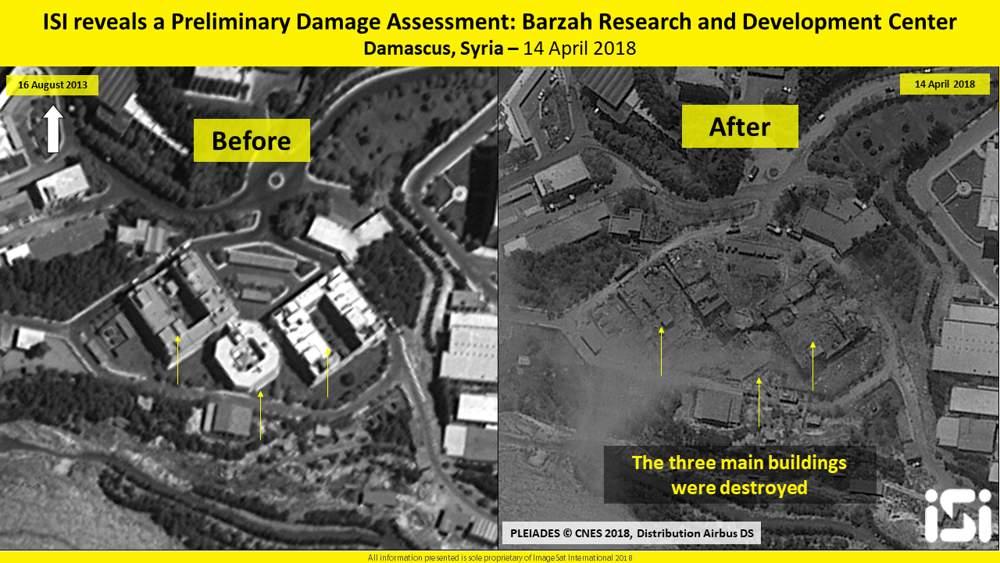 Una imagen satelital muestra tres edificios en las instalaciones de investigación de Barzeh cerca de Damasco, Siria, presuntamente utilizados para desarrollar armas químicas, en 2013 (L) y destruidos después de un ataque de los EE.UU, Gran Bretaña y Francia el 14 de abril de 2018. (ImageSat International)