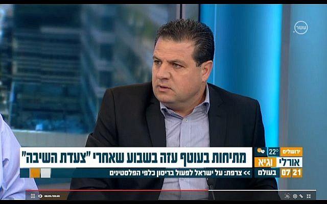 Ayman Odeh, jefe de la Lista Conjunta (árabe), habla en el Canal 10 el 2 de abril de 2018. (Captura de pantalla: Canal 10)