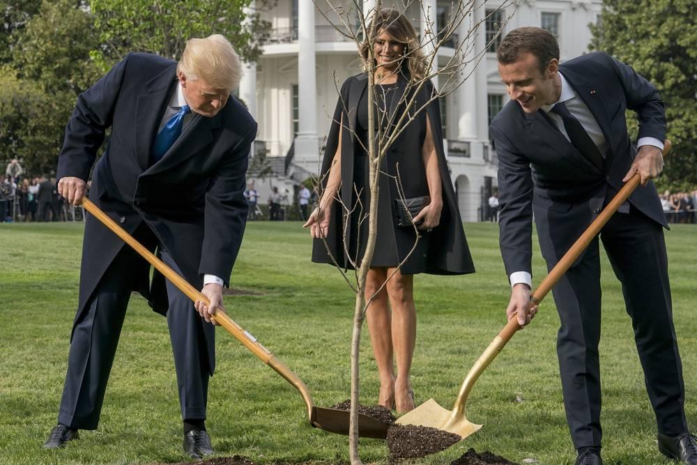 La primera dama estadounidense Melania Trump observa mientras el presidente Donald Trump y el presidente francés Emmanuel Macron participan en una ceremonia de plantación de árboles en el jardín sur de la Casa Blanca en Washington, el lunes 23 de abril de 2018. (AP Photo / Andrew Harnik)