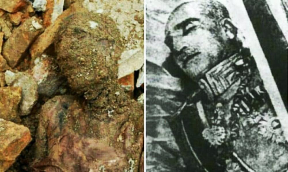 El cuerpo momificado encontrado cerca de Teherán y Reza Sha antes de su entierro.Fotografía: noticias de Tasnim