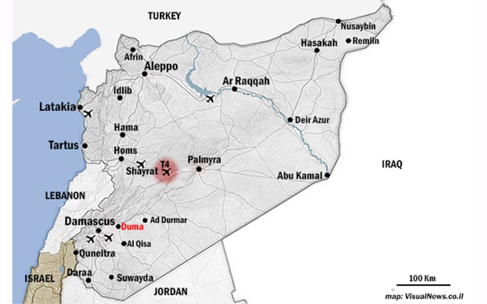 La ubicación de la base aérea T-4, resaltada en rojo, que fue bombardeada en las horas previas al amanecer del 9 de abril de 2018. Siria y Rusia han culpado a Israel por el ataque.(Crédito: Joseph Hirsch)
