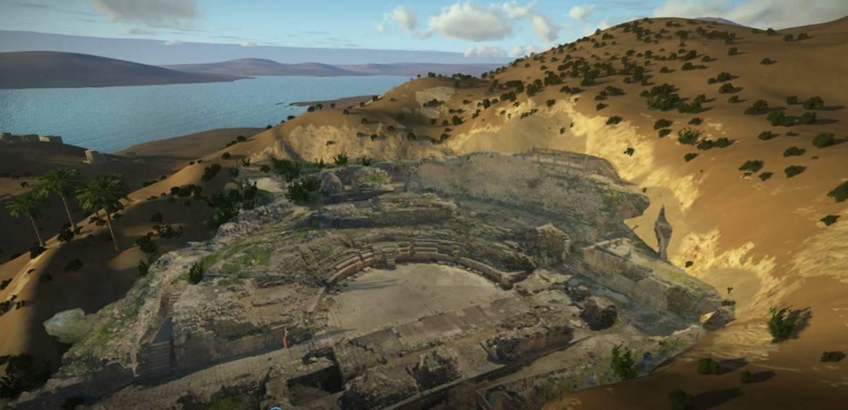 Una fotografía tridimensional avanzada del anfiteatro en Tiberíades tal como aparece en el sitio interactivo del Sendero del Sanedrín.(Ya'akov Shmidov, Autoridad de Antigüedades de Israel)