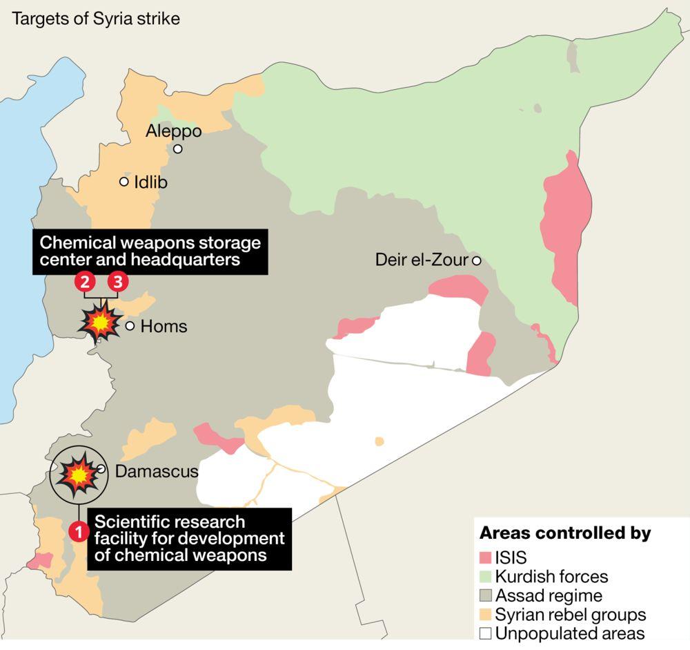 Objetivos de los ataques liderados por Estados Unidos en Siria. (Crédito: HA'ARETZ)