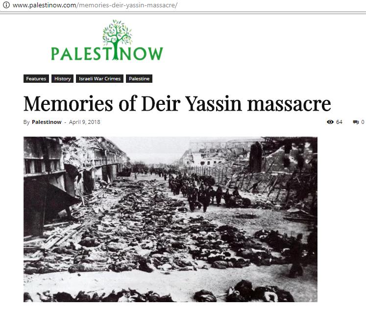 """Sitio web islamista publica la misma imagen de judíos asesinados durante el Holocausto y difunde el mito de la """"masacre de Deir Yassin"""". (Captura de pantalla)"""