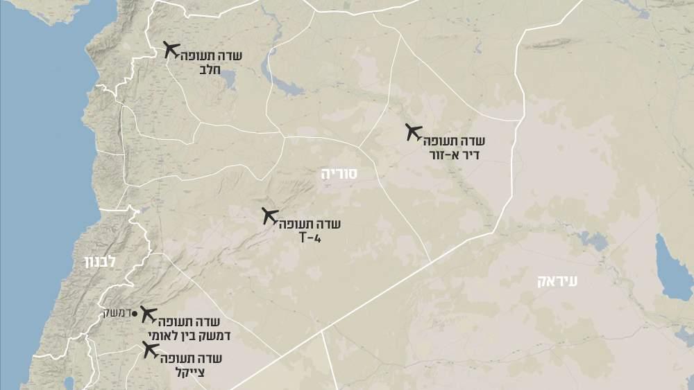 Un mapa de Siria, provisto a los medios israelíes, muestra las ubicaciones aproximadas de cinco bases que Israel cree que están controladas por Irán.
