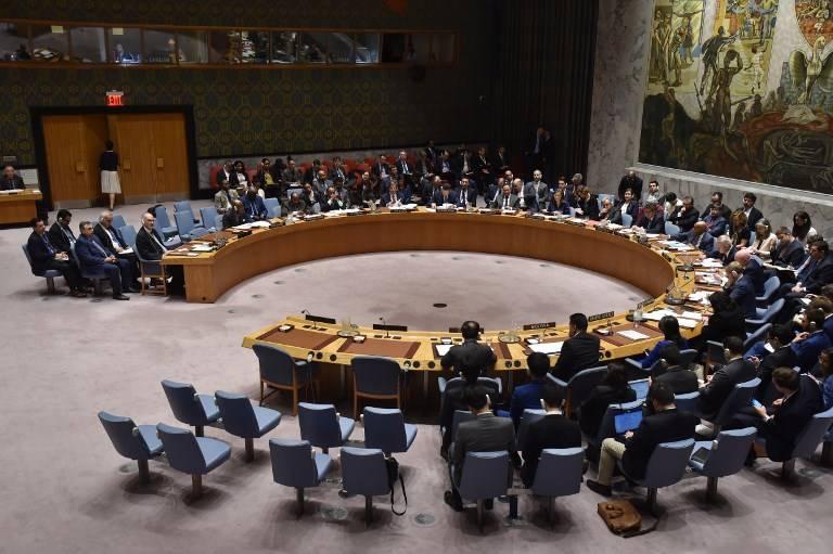 El Consejo de Seguridad de la ONU se reúne el 14 de abril de 2018 en la sede de la ONU en Nueva York.(AFP / HECTOR RETAMAL)