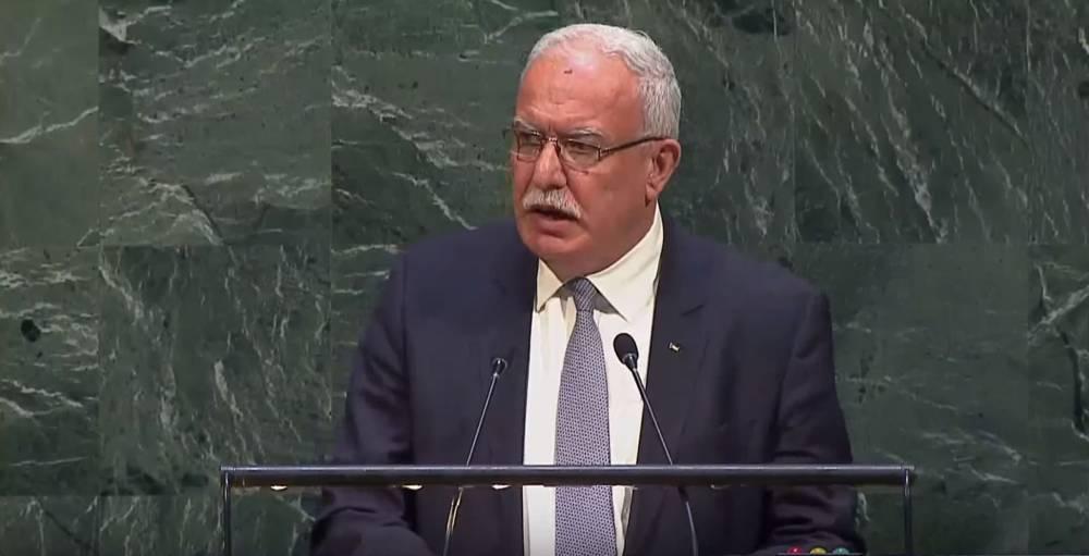 El Ministro de Asuntos Exteriores de la Autoridad Palestina, Riyad al-Malki, se dirige a la Asamblea General de las Naciones Unidas el 21 de diciembre de 2017. (Captura de pantalla de YouTube)