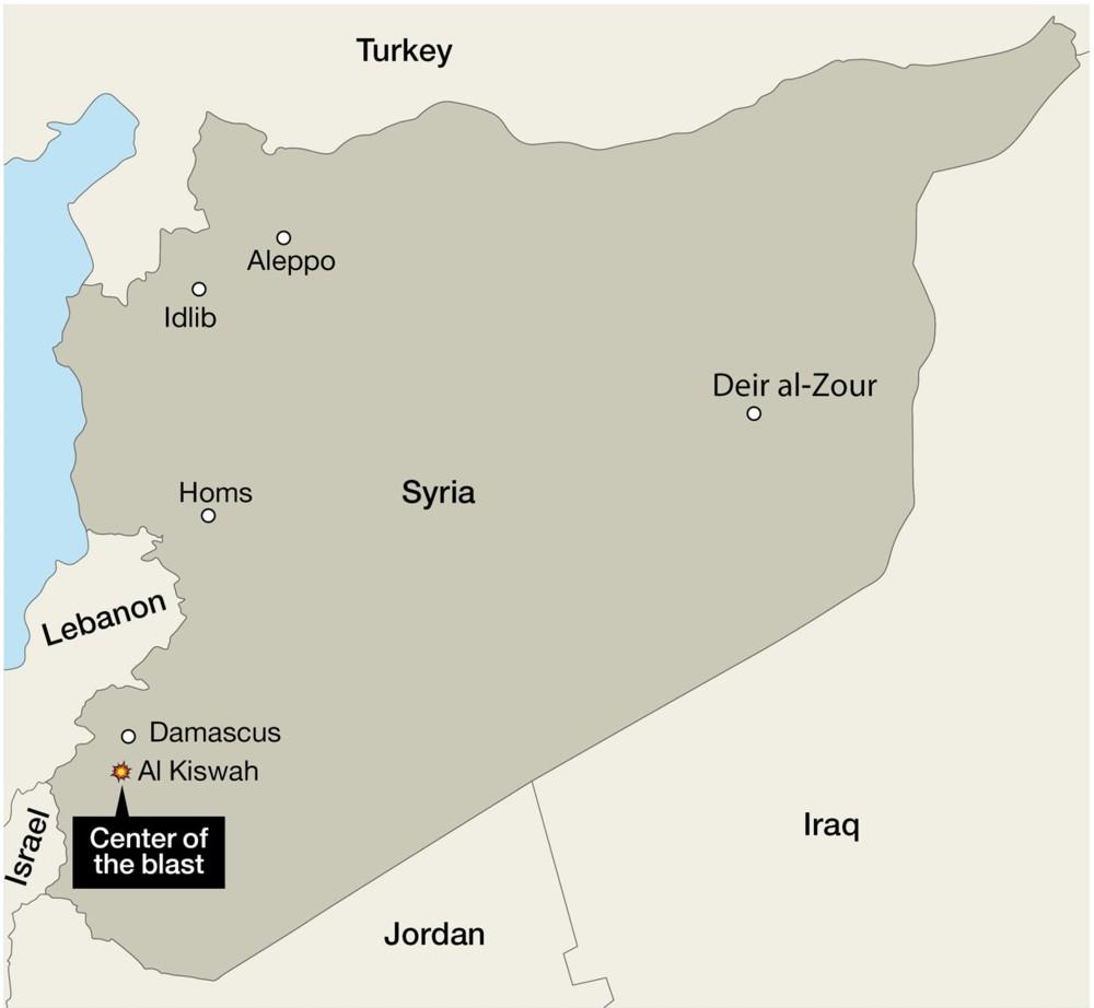Kiswah, Siria - el sitio de los presuntos ataques aéreos israelíes el 8 de mayo de 2018.