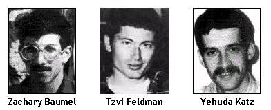 Los soldados de las Fuerzas de Defensa de Israel desaparecidos Zachary Baumel, Zvi Feldman y Yehuda Katz.(La Coalición Internacional para Soldados Israelíes Desaparecidos)