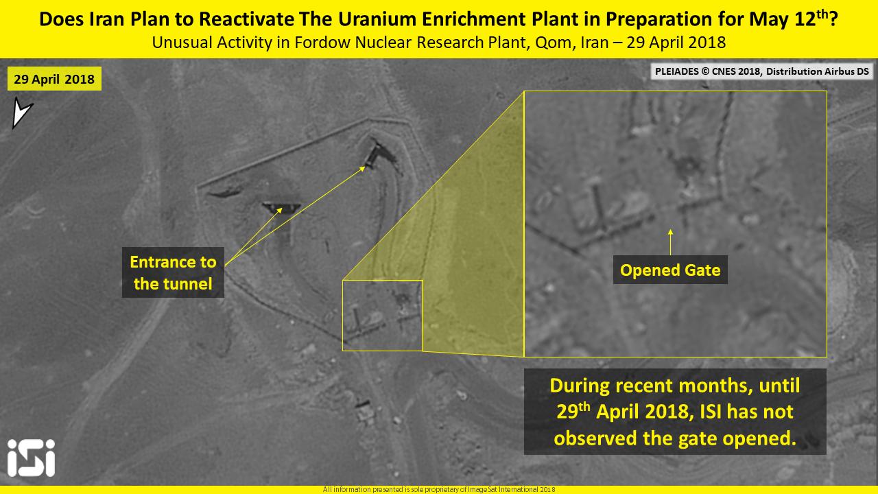 Una imagen de satélite del 29 de abril de 2018, que muestra la actividad reciente en la instalación nuclear de Fordo en Irán.(ImageSat International ISI)