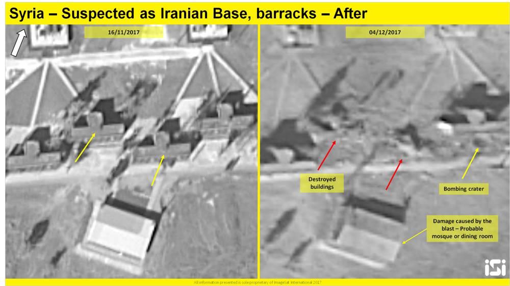 Una imagen de satélite que muestra los resultados de un presunto ataque aéreo israelí contra una base iraní informada que se está estableciendo a las afueras de Damasco, desde el 16 de noviembre de 2017 y el 4 de diciembre de 2017. (ImageSat International ISI)