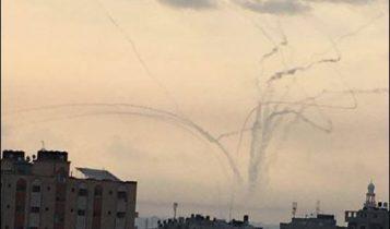 Proyectiles de mortero disparados desde Gaza al sur de Israel, 29 de mayo de 2018 (Twitter)