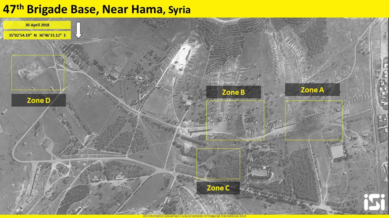 Una imagen de satélite que muestra los resultados de un presunto ataque aéreo israelí en una base iraní reportada en las afueras de la ciudad norteña de Hama el día anterior, el 30 de abril de 2018. (ImageSat International ISI)