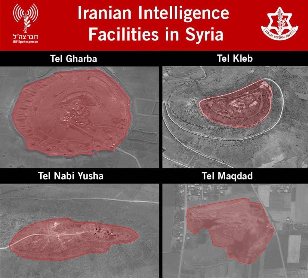 Una foto lanzada por el ejército israelí el 11 de mayo de 2018 que muestra sitios de inteligencia iraníes en Siria.(Portavoz de las FDI)