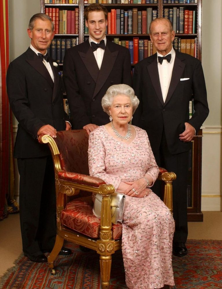 Prince William, center, with his father Charles and grandparents Queen Elizabeth II and Philip, Duke of Edinburgh, in 2003.AP