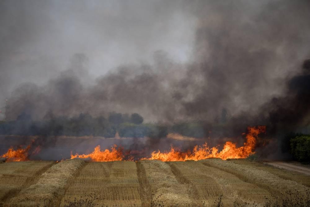 Grandes incendios en los campos Israel por cometa incendiaria desde Gaza