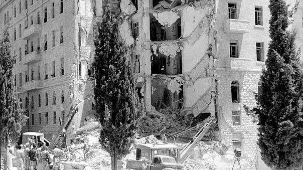 The King David Hotel después del bombardeo (crédito de la foto: Wikimedia Commons)