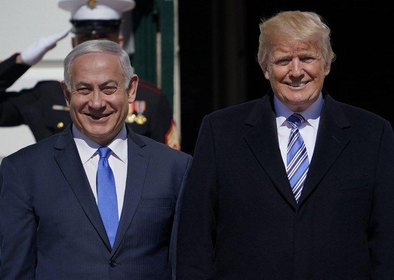 El presidente de los Estados Unidos, Donald Trump, da la bienvenida al primer ministro Benjamin Netanyahu a la Casa Blanca el 5 de marzo de 2018 en Washington, DC.(AFP Photo / Mandel Ngan)