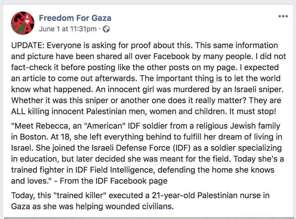 Una publicación en Facebook de activistas pro-palestinos en línea acusando falsamente a una soldado de las FDI de matar a una enfermera de Gaza el 1 de junio de 2018. (Freedom for Gaza / Facebook)