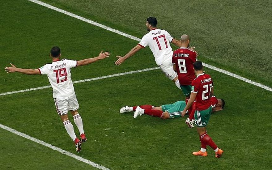 Los jugadores iraníes celebran