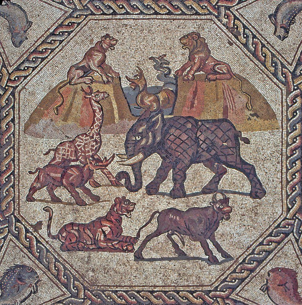 Centro de mesa del mosaico Lod original, descubierto en 1996. (Niki Davidov, AAI)