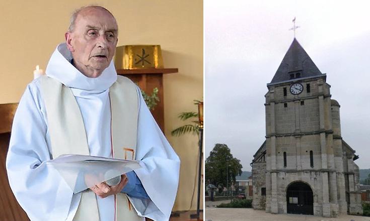 Jihadista Isis que cortou a garganta Pai Jacques Hamel (à esquerda) em sua igreja em Saint-Etienne-du-Rouvray (à direita) em 26 de julho, 2016, tinha estado sob vigilância e estava sendo monitorada com uma pulseira electrónica tornozelo.