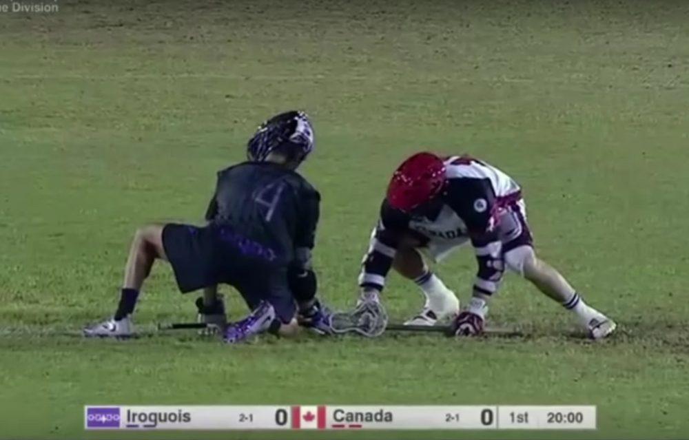 El equipo de lacrosse de la nación iroquesa se enfrenta al equipo canadiense en Israel, 16 de julio de 2018. (Fuente de la imagen: captura de pantalla del video de Lacrosse Analytics)
