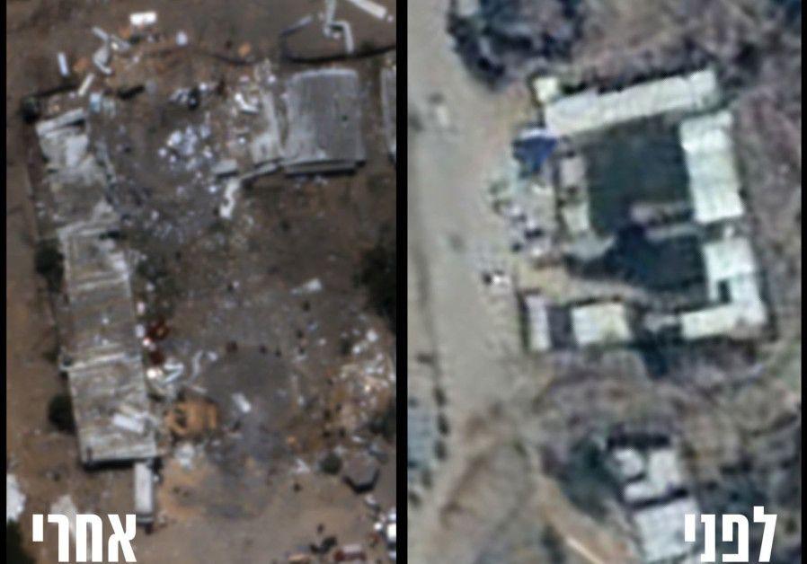 Antes (R) y después (L) de la destrucción del cuartel general del batallón de Hamas en Zeitoun en la Franja de Gaza. (Unidad del Portavoz de las FDI)
