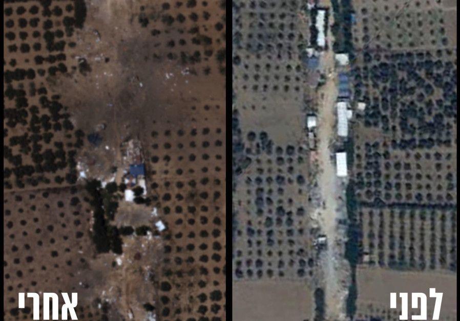 Antes (R) y después (L) de la destrucción del cuartel general del batallón de Hamas en al-Bureij en la Franja de Gaza. (Unidad del Portavoz de las FDI)