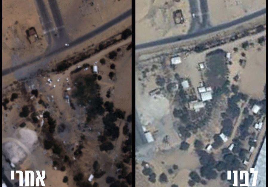 Antes (R) y después (L) de la destrucción del cuartel general del batallón de Hamas en Khan Younis en la Franja de Gaza. (Unidad del Portavoz de las FDI)