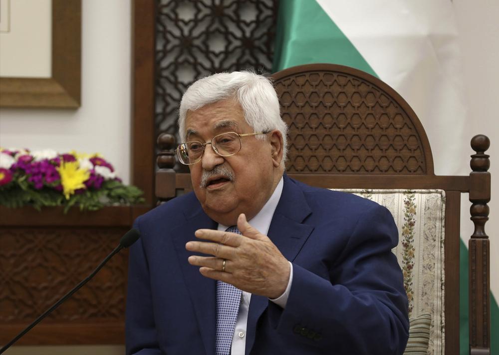 El presidente de la Autoridad Palestina, Mahmoud Abbas, en la ciudad de Ramallah, el 27 de junio de 2018. (Alaa Badarneh / Pool Photo via AP)