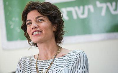 La presidenta de Meretz, Tamar Zandberg, encabeza una reunión de facciones en la Knesset el 7 de mayo de 2018. (Miriam Alster / Flash90)