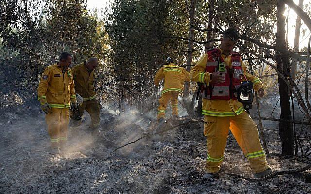 Bomberos israelíes extinguen un incendio en el embalse de Shikma causado por cometas voladas por palestinos, cerca de la frontera con la Franja de Gaza, el 5 de julio de 2018. (Edi Israel / Flash90)
