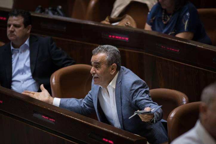 Miembro de la Lista Conjunta (Árabe) de la Knéset, Jamal Zahalka en la plenaria de la Knéset el 18 de julio de 2018 (Hadas Parush / Flash 90)