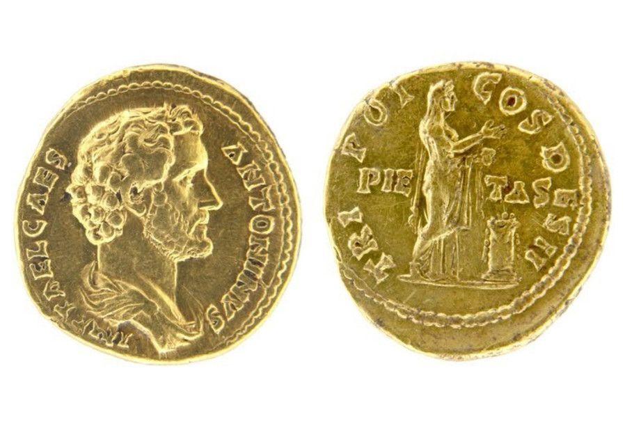 Artefacto de la moneda de oro Antinous Pious encontrado en la ciudad bíblica de Zer (Hanan Shapir)