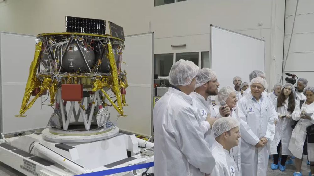Captura de pantalla del video de una conferencia de prensa que muestra la nave SpaceIL, 10 de julio de 2018. (Facebook)