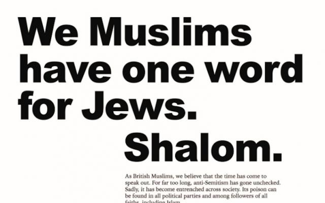 Un anuncio en el periódico Telegraph, 17 de mayo de 2018 (Junta de Diputados de Judios británicos / Twitter)