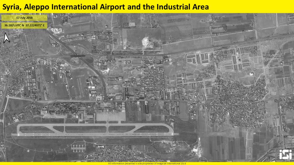 Imágenes satelitales del 17 de julio de 2018, que muestran un campo de aviación en Aleppo, Siria, que se dice que es una base para las fuerzas iraníes, que fue atacada en un presunto ataque aéreo israelí días antes. (ImageSat International ISI)