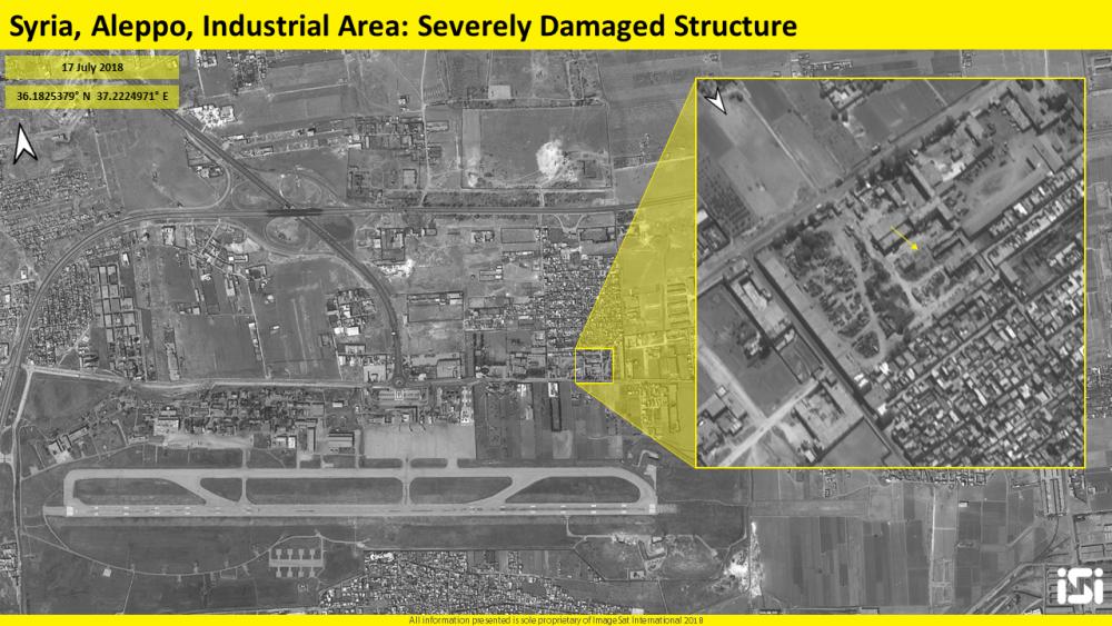 Imágenes satelitales del 17 de julio de 2018, que muestran los resultados de un presunto ataque aéreo israelí en un campo de aviación en Aleppo, Siria, que se dice que es una base para las fuerzas iraníes. (ImageSat International ISI)