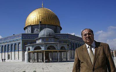 El MK árabe Ahmad Tibi se ve sobre el Monte del Templo en la Ciudad Vieja de Jerusalén el 25 de febrero de 2014. (Sliman Khader / Flash 90)