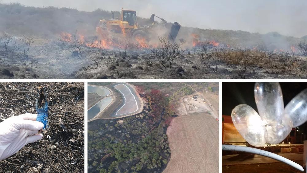 Globos incendiarios de Gaza provocan 7 incendios en el sur de Israel