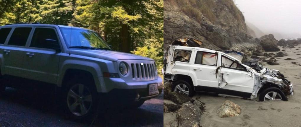 El Jeep Patriot de Hernandez antes y después del accidente.