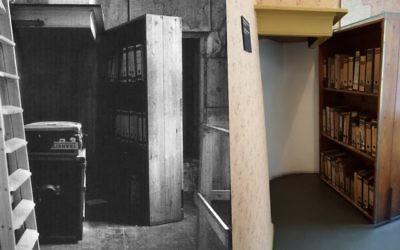 La biblioteca oscilante (años 1950, izquierda) en la Casa de Ana Frank de Amsterdam, Países Bajos, detrás de la cual Ana Frank y otros siete judíos se escondieron de los nazis (Matt Lebovic / The Times of Israel)