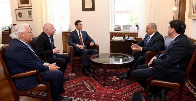 Primer ministro Netanyahu con Kushner, Greenblatt y Friedman (Foto: Embajada de EE. UU. Jerusalén)