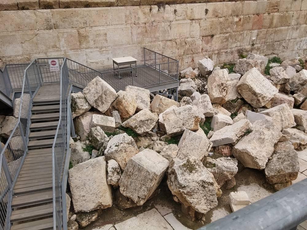 La plataforma de oración igualitaria en el área arqueológica del Arco de Robinson del Muro Occidental.(Eilat Mazar)