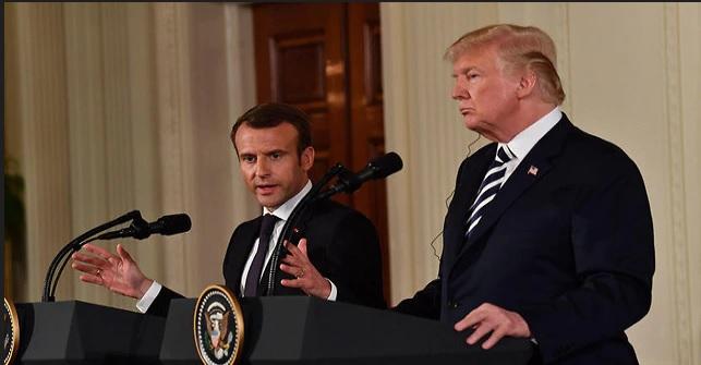 El presidente francés Emmanuel Macron y el presidente Donald Trump (Foto: AFP)