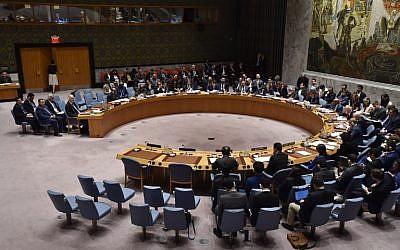 El Consejo de Seguridad de la ONU se reúne el 14 de abril de 2018 en la sede de la ONU en Nueva York. (AFP / Héctor Retamal)